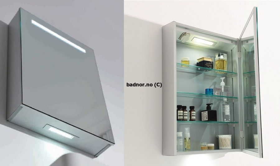 Fra mega Sunniva speilskap 50cm m/ LED- belysning og stikkontakt - Badnor.no CL-12