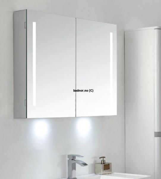 Kjempebra Sunniva speilskap 90cm m/ LED- belysning og stikkontakt - Badnor.no ZA-48